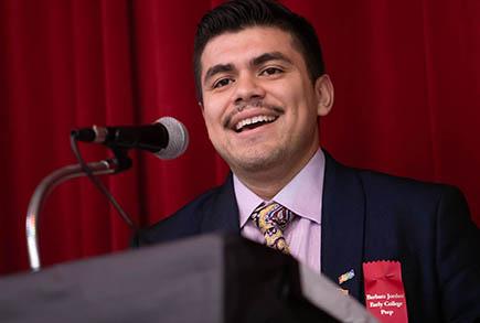 Aaron Escajeda (MPAff / Social Work '21) at Barbara Jordan Elementary School in 2020