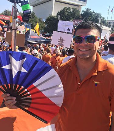 Aaron Escajeda (MPAff / Social Work '21) at a UT celebration