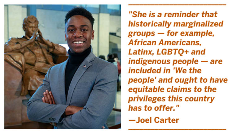 Photo of BJNF20 co-chair Joel Carter and quote: She is a reminder that historically marginalized groups — for example, African Americans, Latinx, LGBTQ+ and indigenous people — are included in 'We the people' and ought to have equitable claims ...