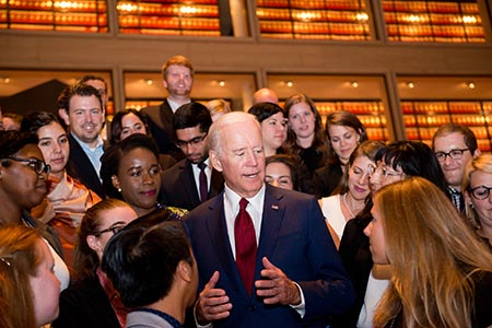 Biden talks with LBJ School students at meet and greet