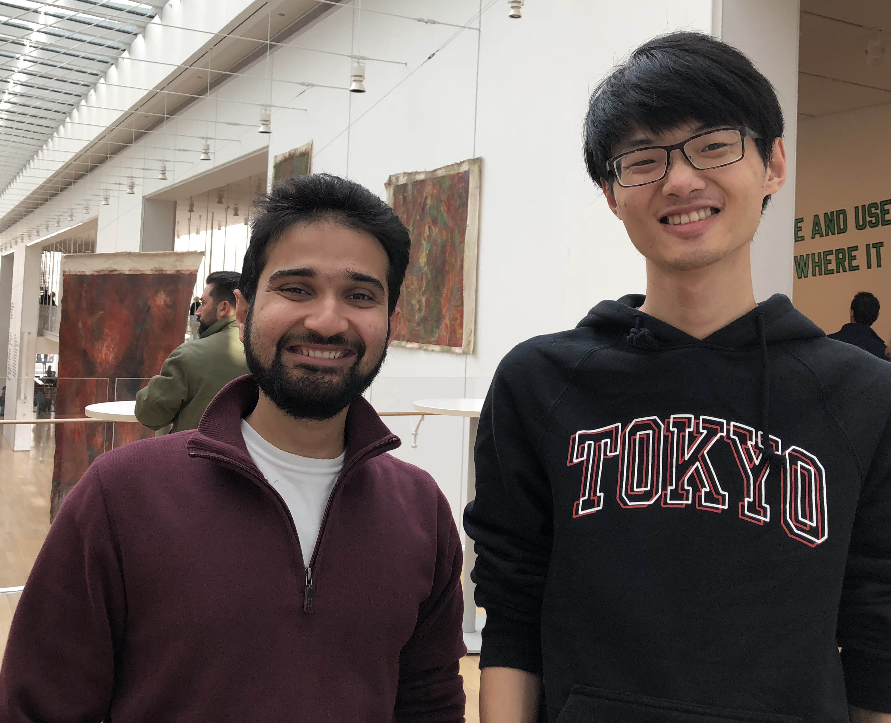 Rehan Hasan (left), a second-year MPAff student from Pakistan, and Zihao Wang, a first-year MPAff student from China, roam the galleries