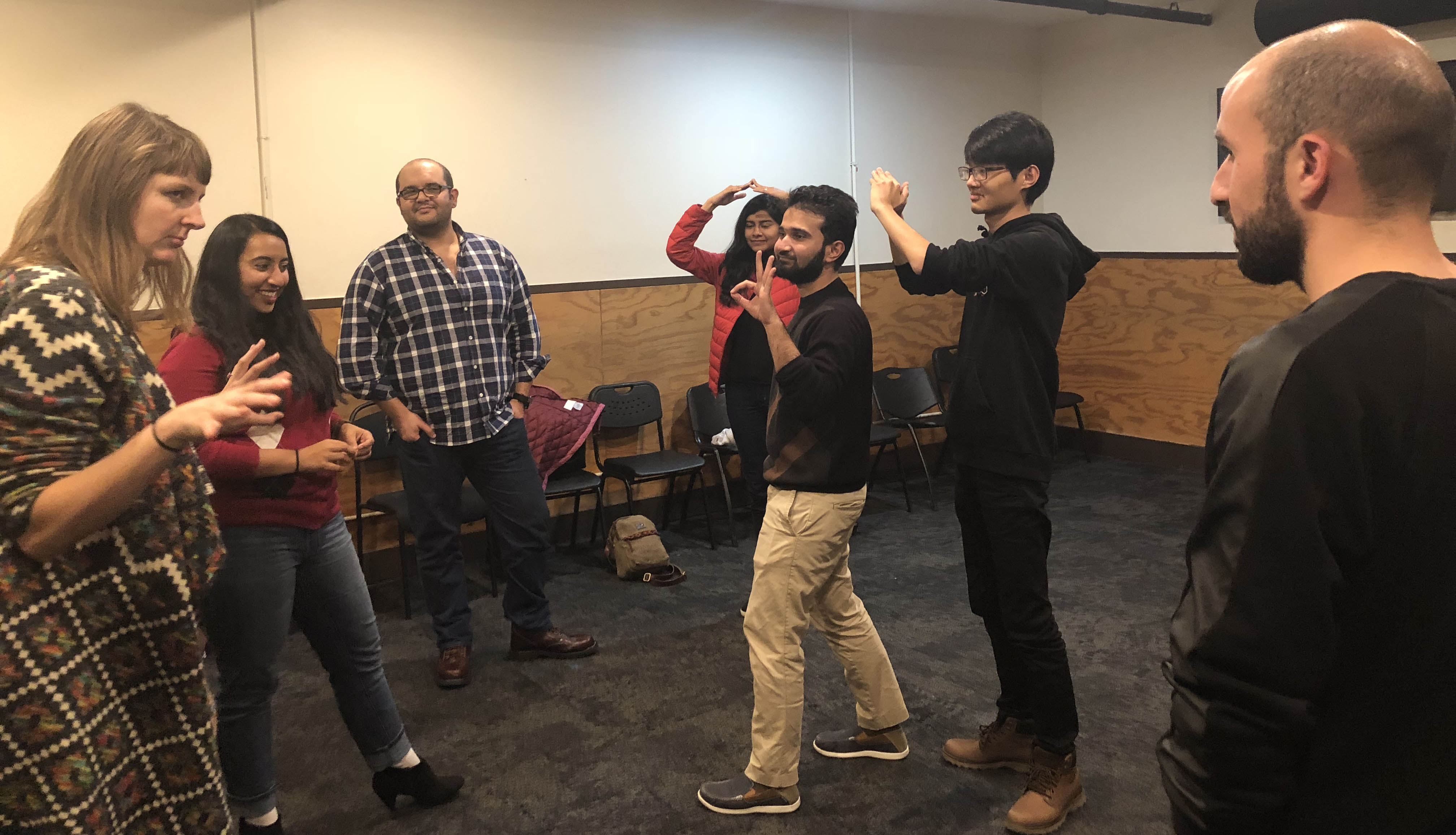 A teacher from The Second City with a group of international LBJ master's degree students during an improv workshop in Chicago