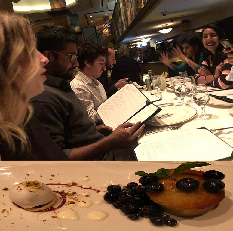 A group of international LBJ master's degree students check out the menu at The Signature Room in Chicago