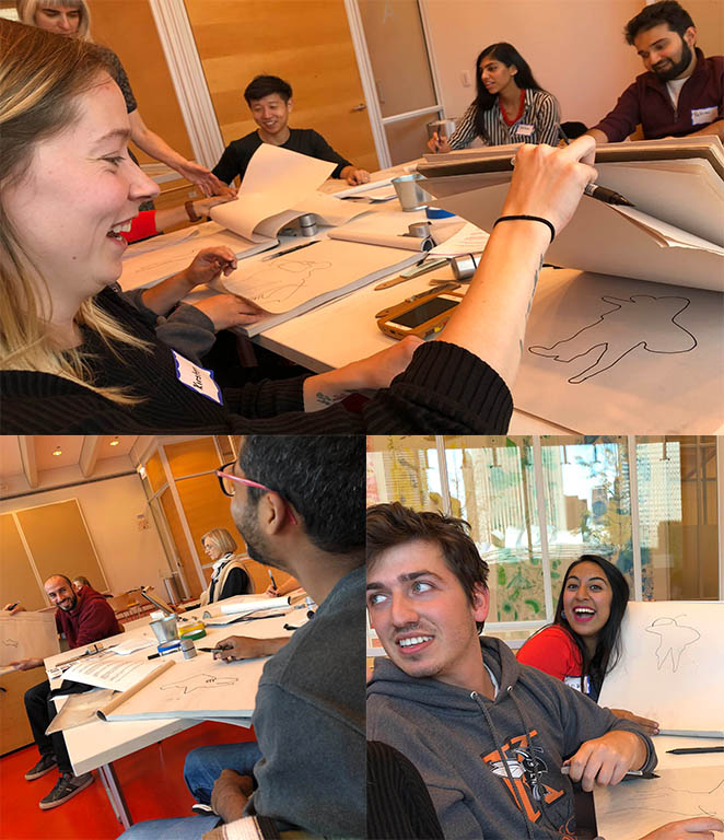 A group of international LBJ master's degree students take a beginning sketching class at the Art Institute of Chicago