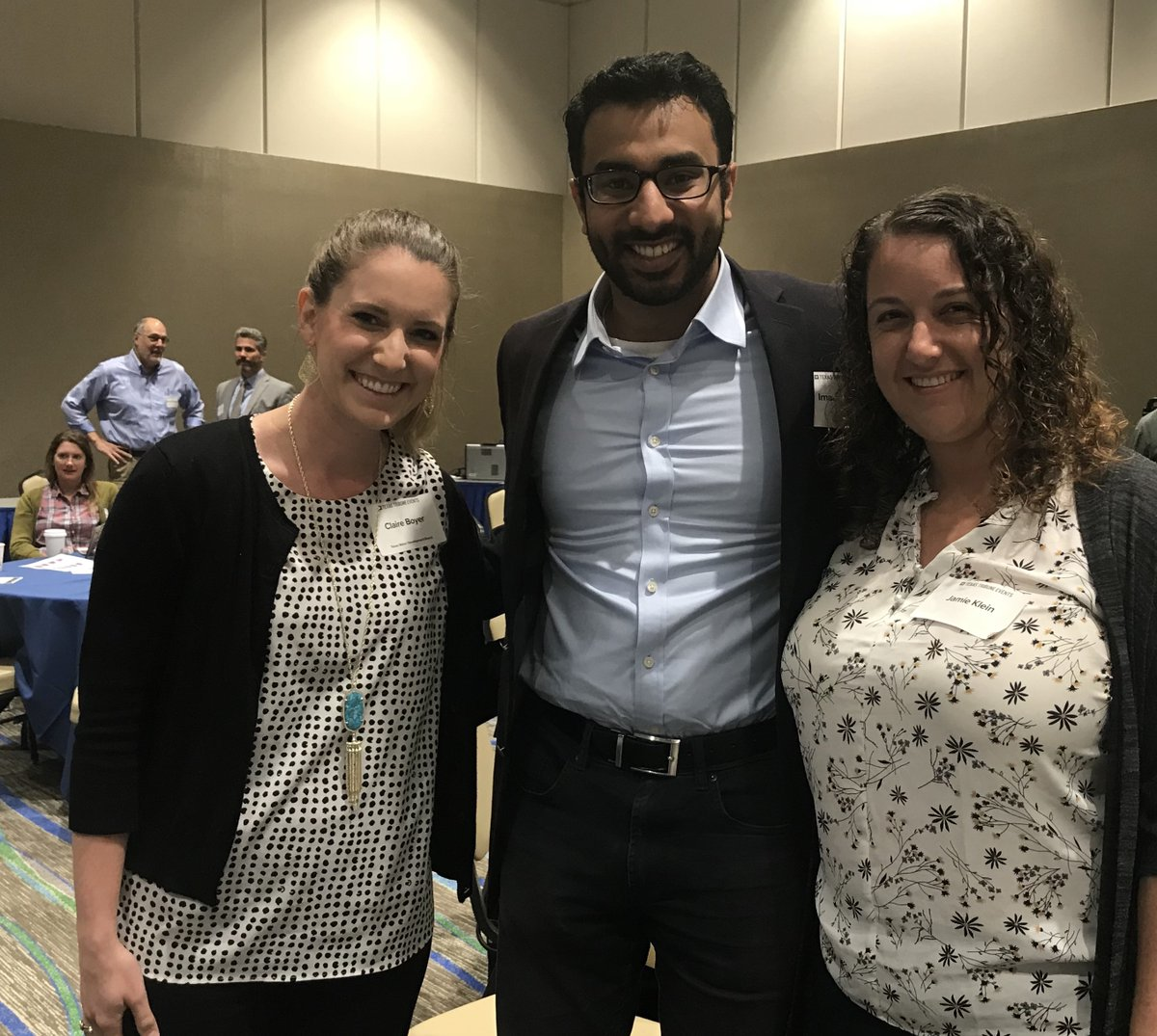 "LBJ Class of 2016 alumni Claire Boyer, Imaad Khan and Jamie Klein attending the ""Rebuilding After Hurricane Harvey: A Texas Tribune Symposium"""
