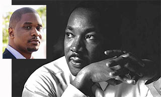 Dr. Brandon Terry photo inset with photo of Dr. Martin Luther King Jr