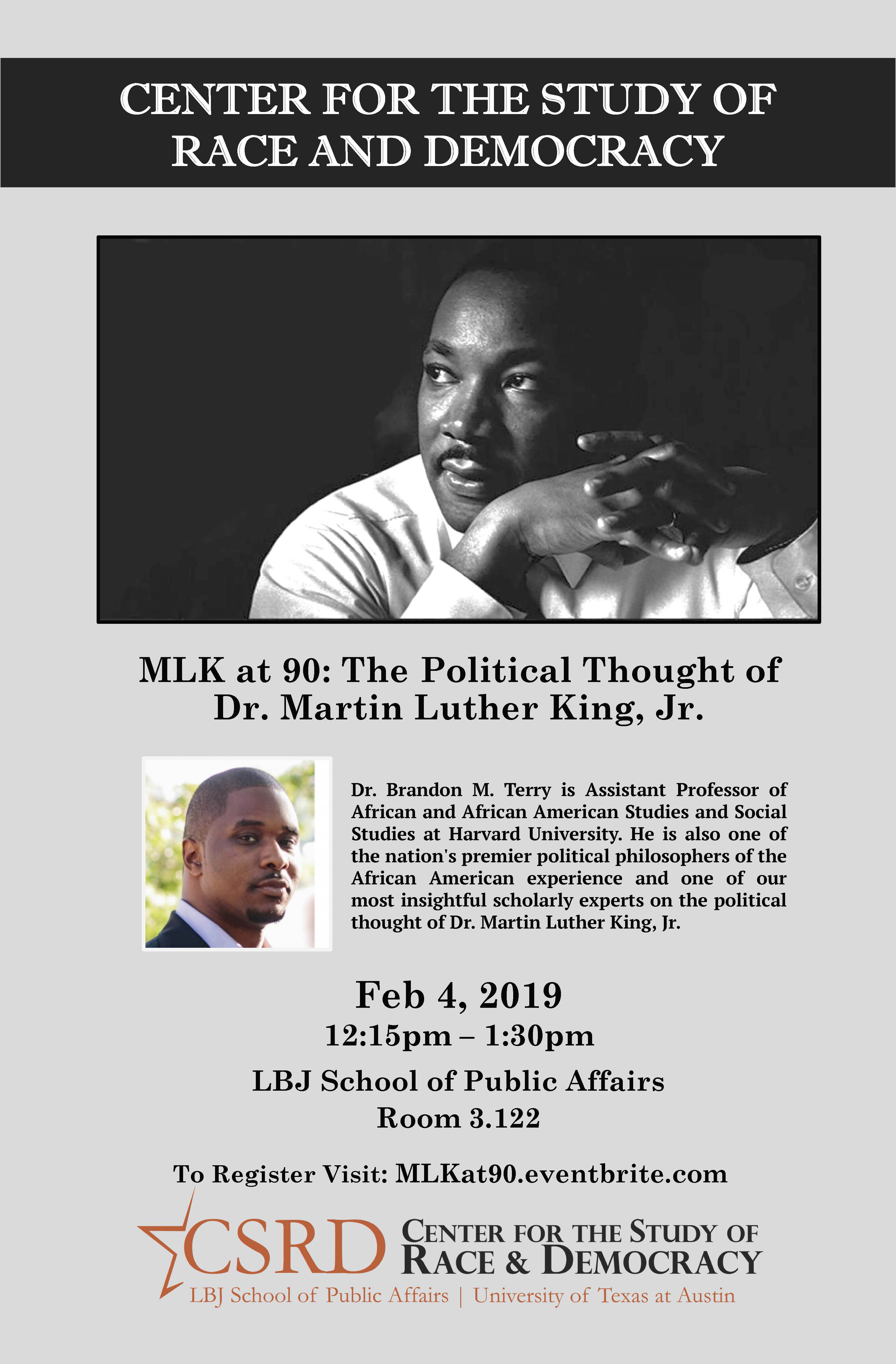 Poster for CSRD event: MLK at 90: The Political Thought of Dr. Martin Luther King Jr.
