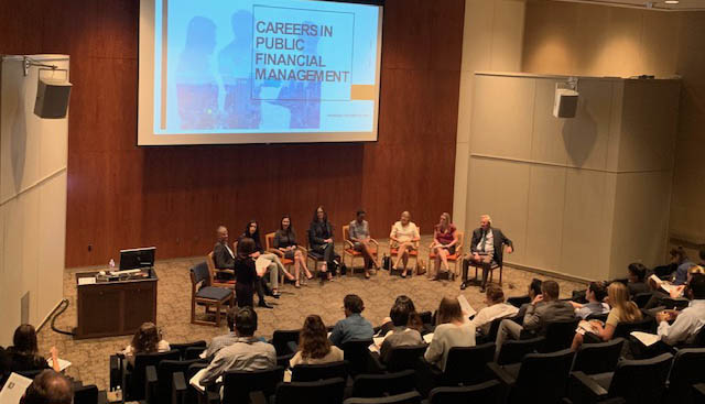 LBJ students attend an event focused on Careers in Public Finance Management