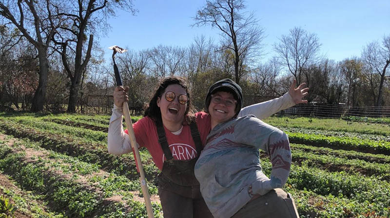 Carolina Mueller (MPAff '21) on the farm where she works