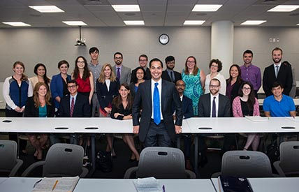 Julian Castro with a classroom of students at the LBJ School