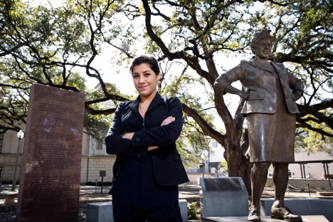 Jackie Chorush stands with Barbara Jordan statue