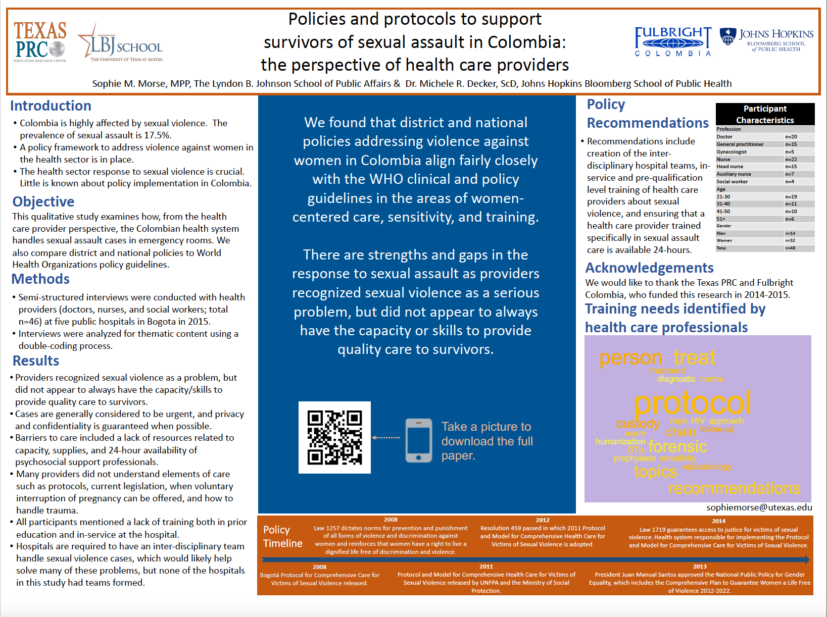 Innovation Bound 2019 research poster: Supporting survivors of sexual assault in Colombia