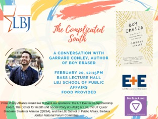 Poster advertising The Complicated South event, a conversation with Garrard Conley, author of Boy Erased