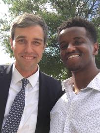 Crook Fellow Samer Yousif with U.S. Rep. Beto O'Rourke