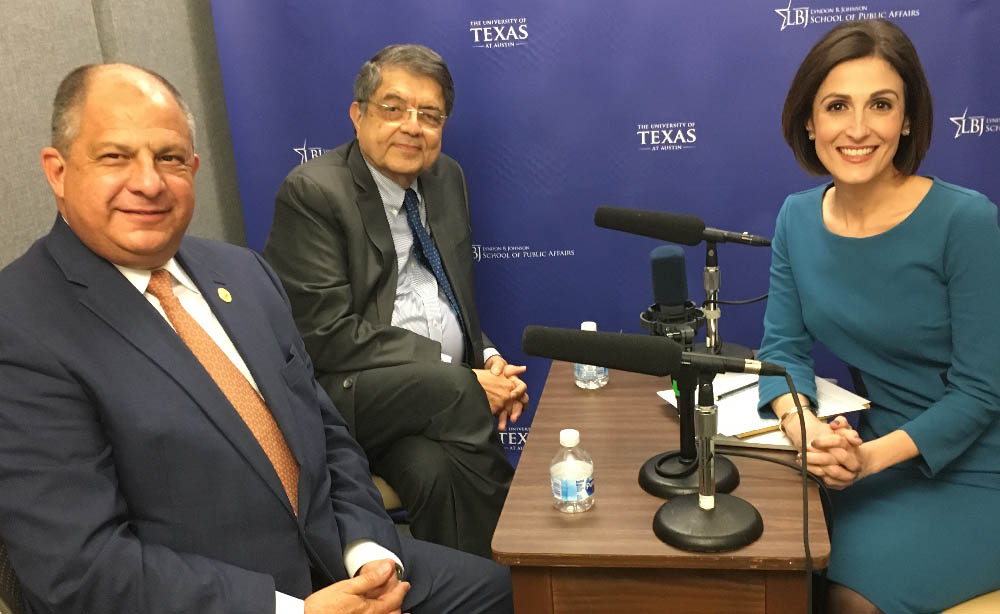 Former President Solís of Costa Rica (left), Vice President of Nicaragua Ramírez (center) and Professor DeFrancesco Soto (right) during a podcast recording.