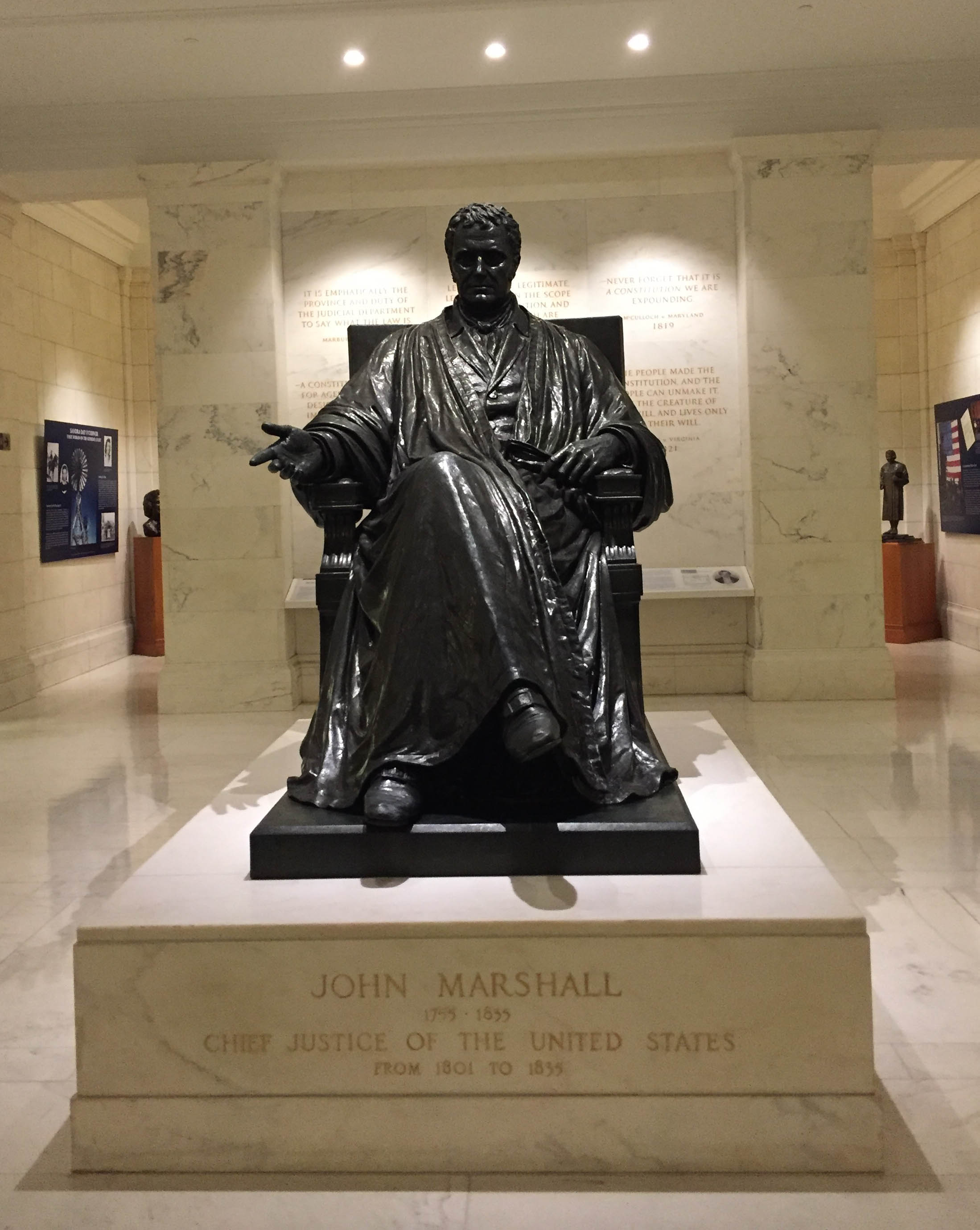 A statue of Chief Justice John Marshall at the U.S. Supreme Court. (Photo courtesy of Michele Deitch)