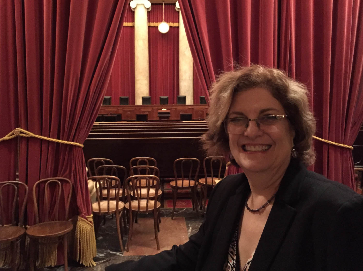 LBJ Senior Lecturer Michele Deitch in the courtroom at the U.S. Supreme Court on the day of her admittance to the Supreme Court Bar Association