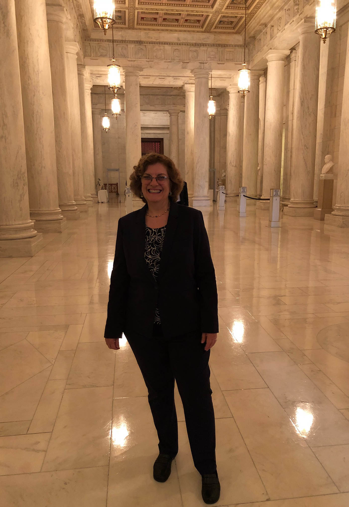 LBJ Senior Lecturer Michele Deitch in the Great Hall at the U.S. Supreme Court on the day she was admitted to the Supreme Court Bar. (Photo courtesy of Michele Deitch)