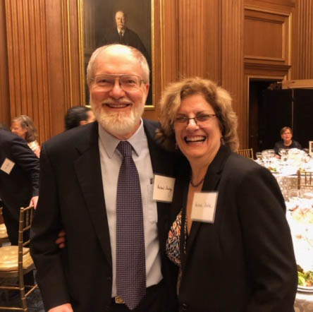 LBJ Senior Lecturer Michele Deitch and her husband, Michael Sturley of the UT School of Law, in a conference room at the U.S. Supreme Court. Deitch and Sturley, who clerked for Justice Lewis F. Powell, attended a reunion of Powell's law clerks during this trip to Washington, DC. (Photo courtesy of Michele Deitch)