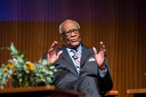 Herbert Douglas, Jr., speaks on the Lady Bird Johnson Auditorium stage