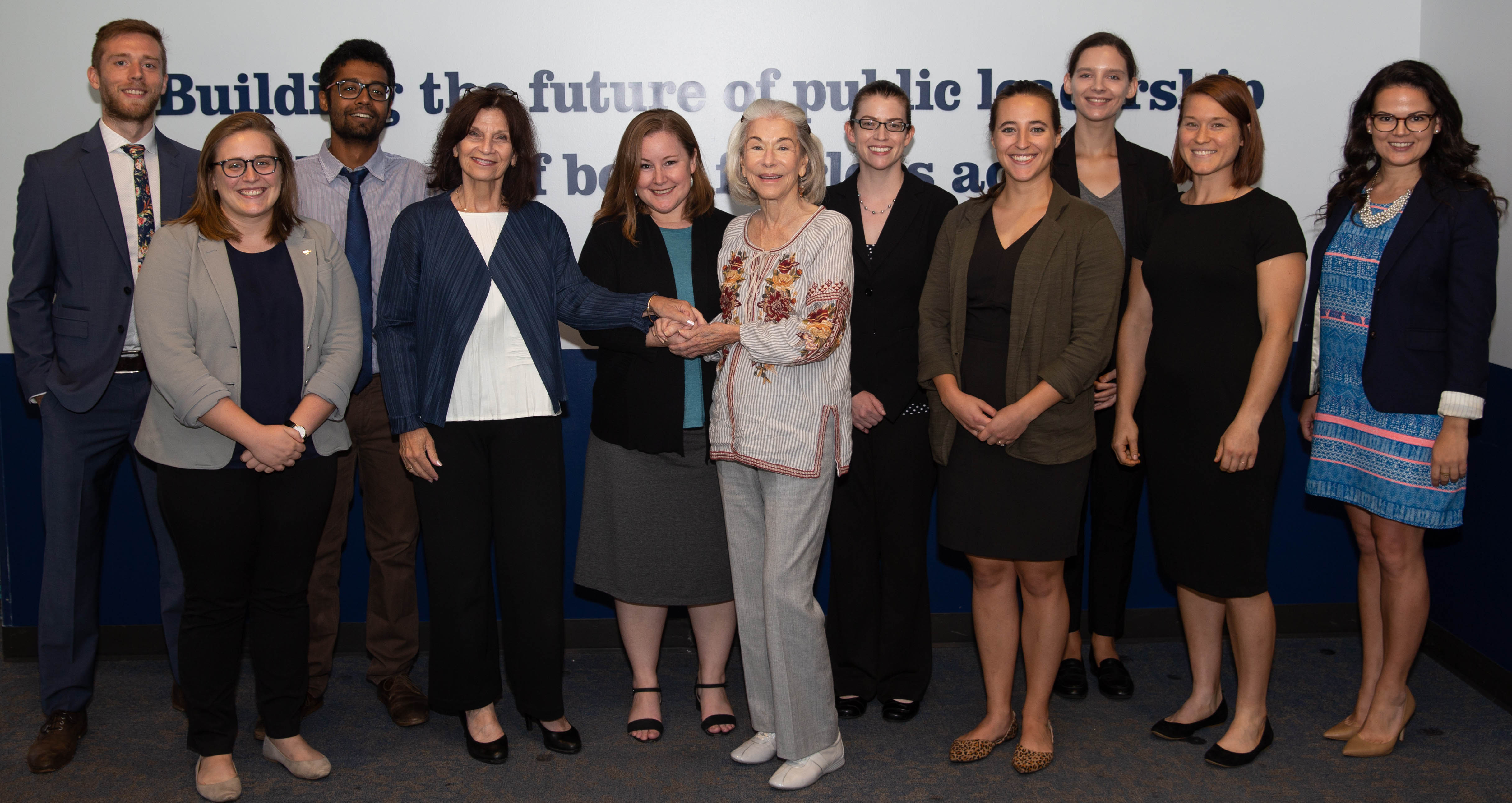 Eleanor Crook (center) with LBJ School Dean Angela Evans, Associate Dean for Students Kate Weaver, and the 2018 Crook Fellows