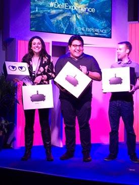Estevan Delgado and his teammates accept awards