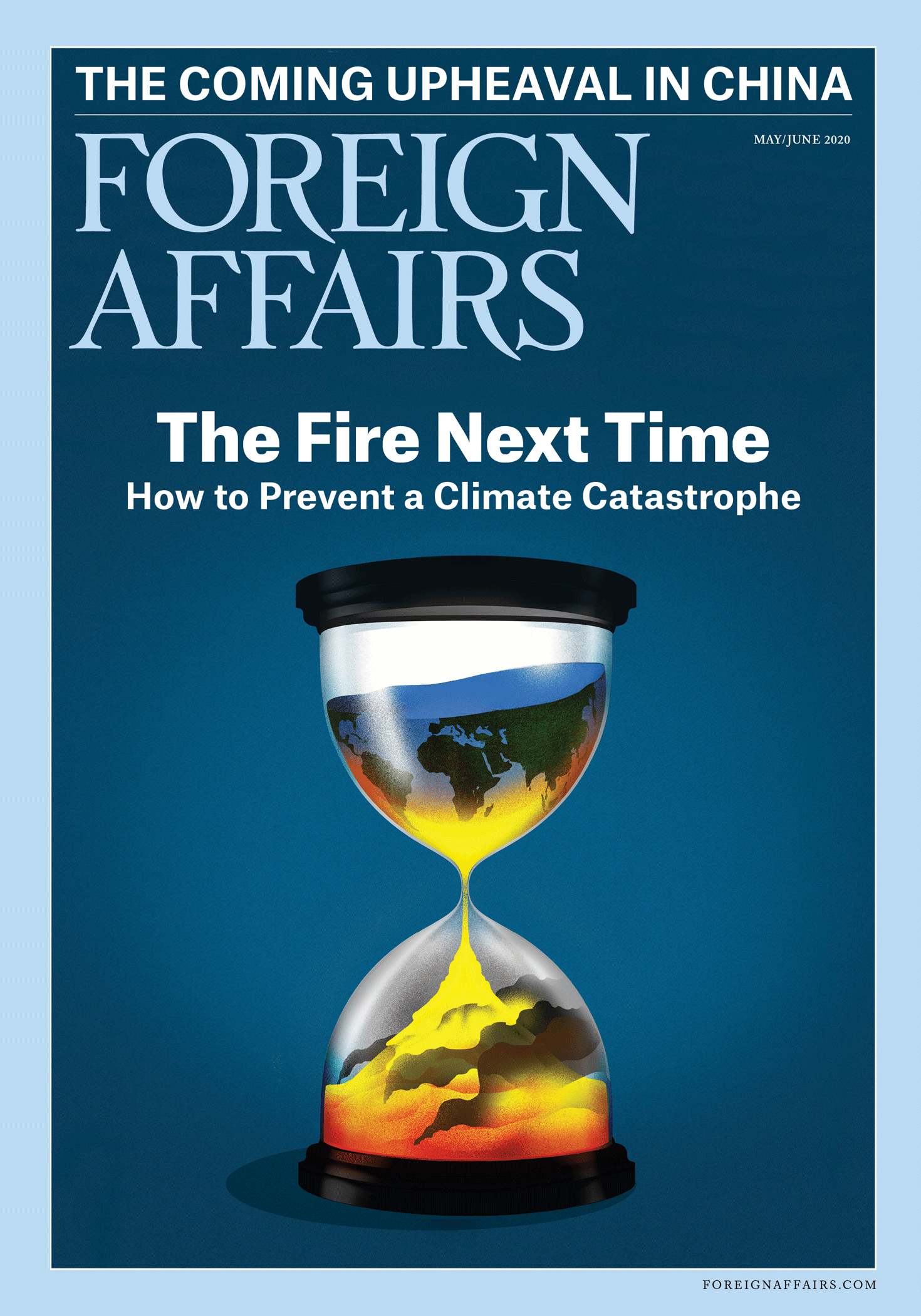 May/June 2020 Foreign Affairs cover: An hourglass with the earth falling through it