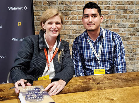 Gabriel Cortez (MGPS '21) with former U.S. Ambassador to the UN Samantha Power at the Texas Tribune Festival in 2019