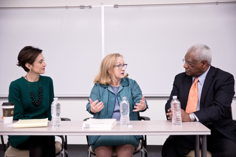 LBJ School Lecturer Victoria deFrancesco Soto and Ruth Wasem join Professor Edwin Dorn on a panel about immigration