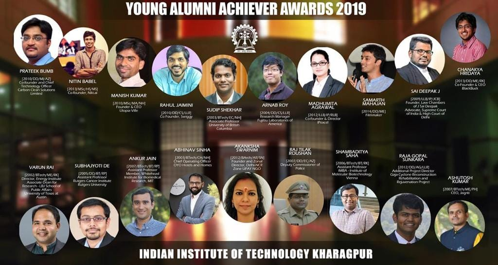 Winners of the Indian Institute of Technology Kharagpur's Young Alumni Achiever Awards 2019