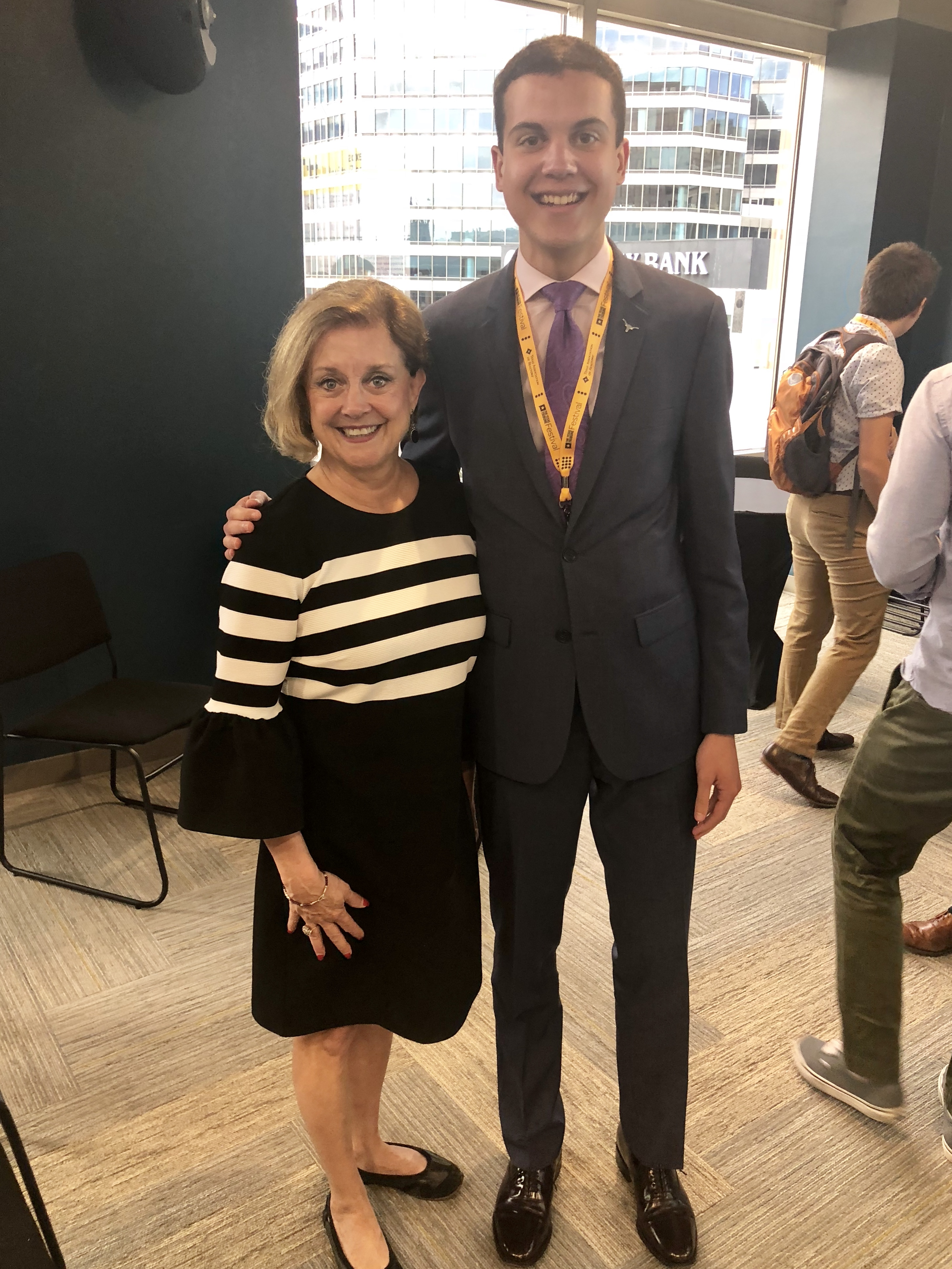 Travis County Clerk and LBJ alum Dana DeBeauvoir with LBJ MPAff student Alex Meed at the 2018 Texas Tribune Festival.