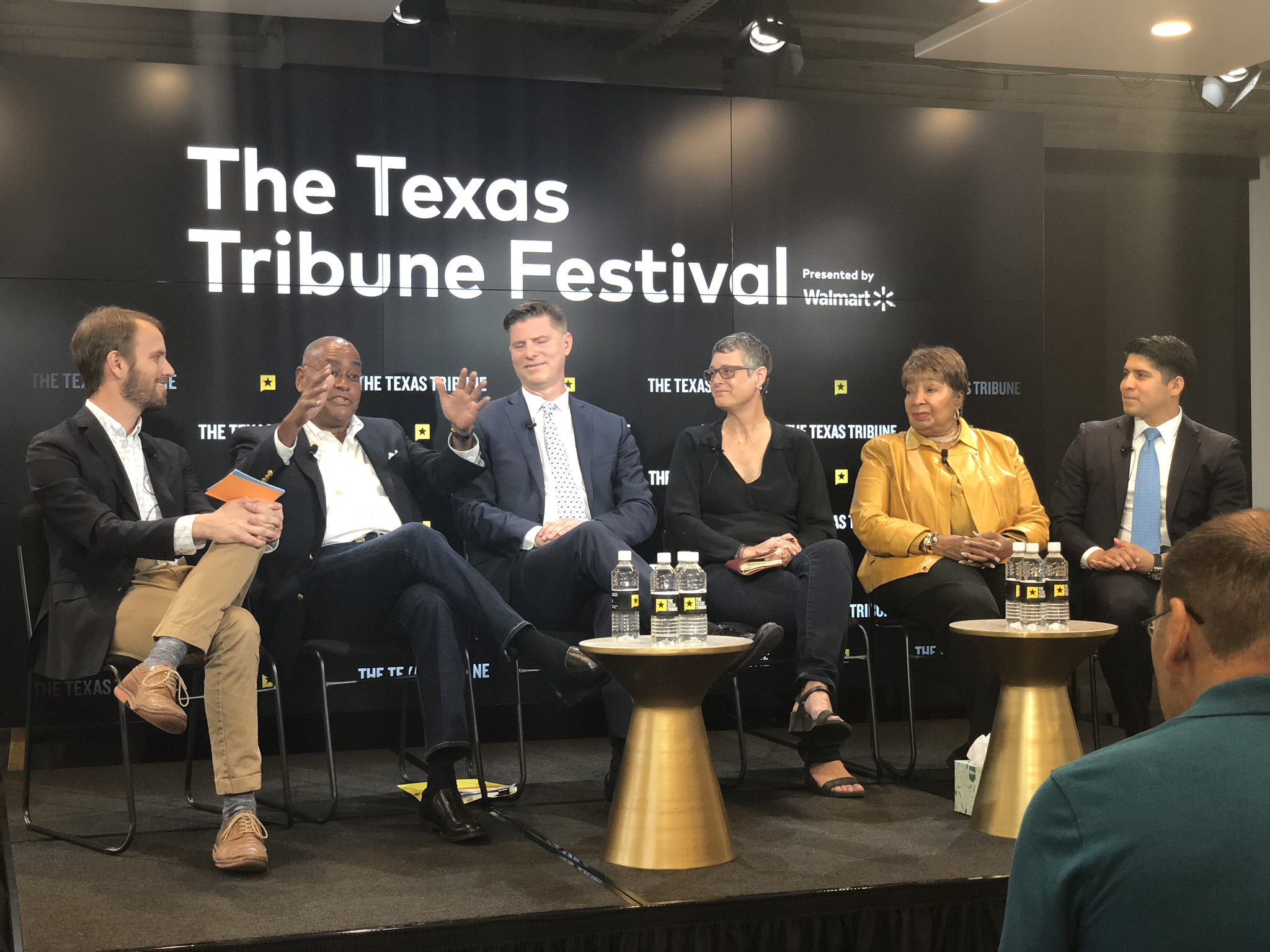 Travis County Judge and LBJ alum Sarah Eckhardt (3rd from right) in a Texas Tribune Festival '18 panel.