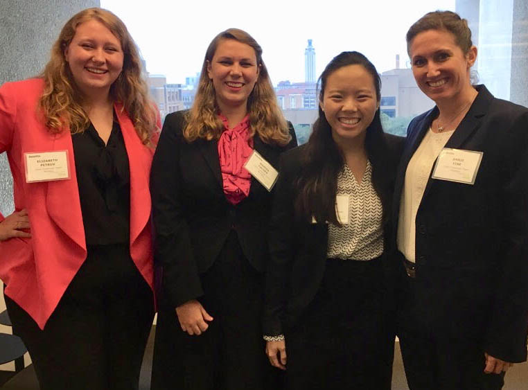 LBJ dual degree student Jaclyn Le and her teammates during the Deloitte case competition