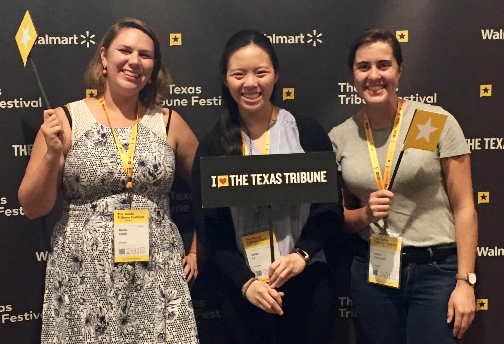 LBJ dual degree student Jaclyn Le (MPAff '19) with her friends at the Texas Tribune Festival