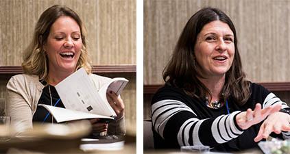 LBJ alumna Jennifer Esterline (MPAff '01) and Professor Jenny Knowles Morrison on a Texas education funding consortium. (Photo by Sasha Haagensen)