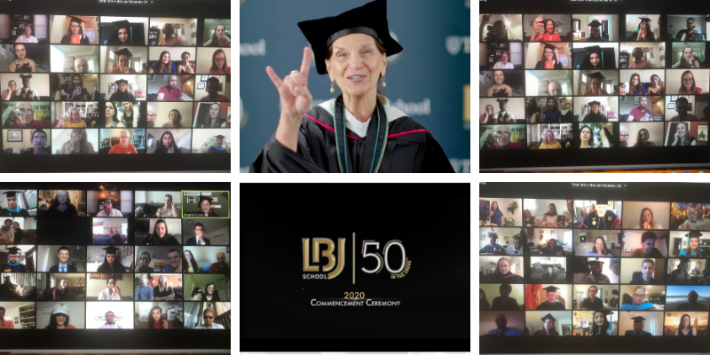 Scenes from the socially distanced LBJ School 2020 commencement