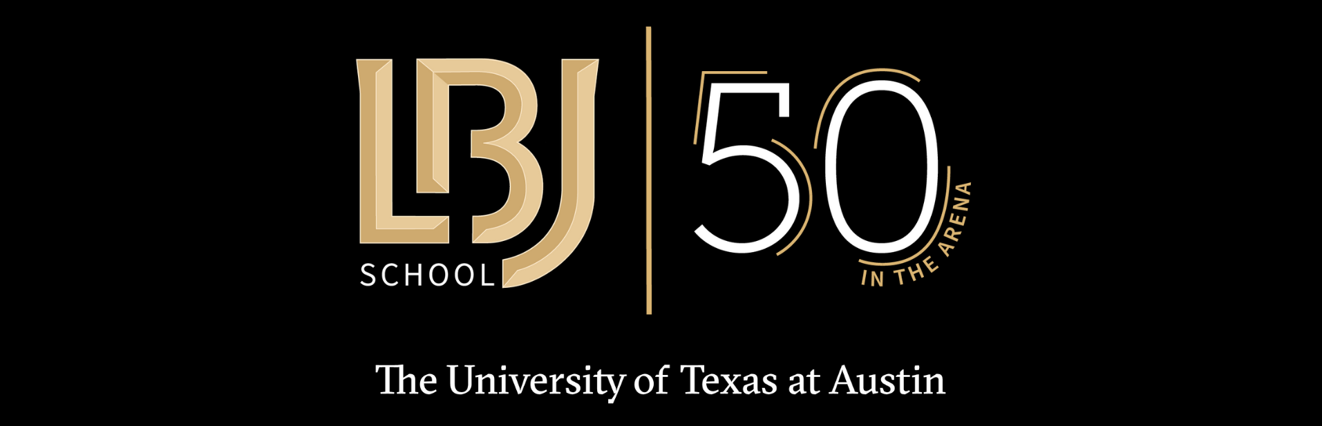 LBJ 50th anniversary logo with The University of Texas at Austin
