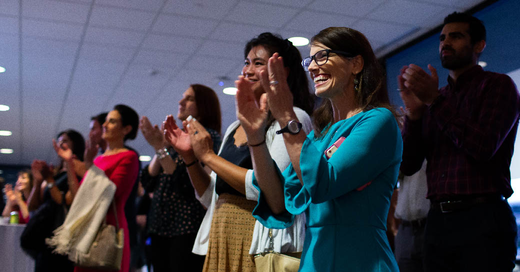 LBJ alums applaud the 2019 Outstanding Alumni Award winners at the reception on Sept. 20, 2019