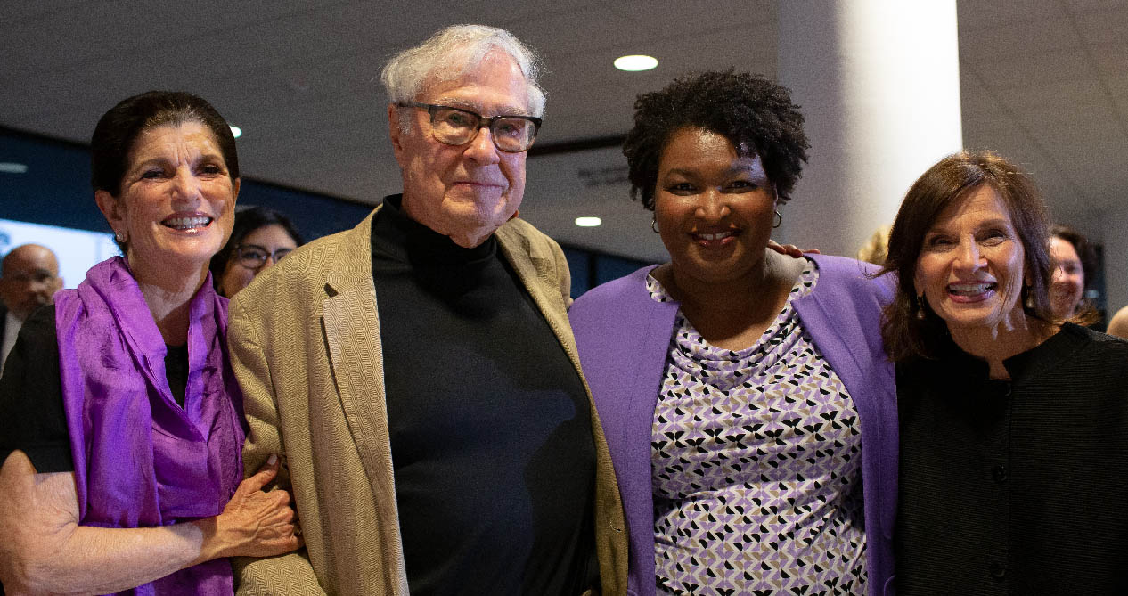 Luci Baines Johnson, former LBJ School Dean Max Sherman, Stacey Abrams (MPAff '98) and LBJ Dean Angela Evans at the Outstanding Alumni Awards reception on Sept. 20, 2019