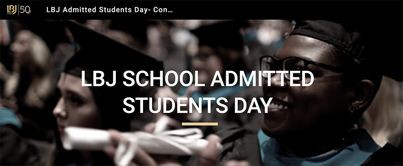 Image of LBJ students at commencement on the website for Admitted Students Day 2020