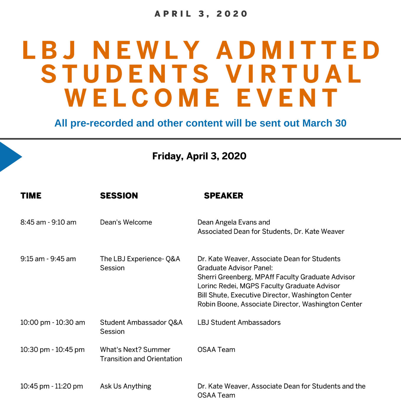 LBJ Admitted Students Weekend schedule for April 3, 2020