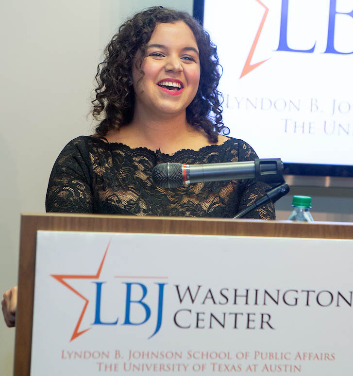 Nina Guidice (MPAff '18) delivers the LBJ DC Fellow Address on Dec. 8