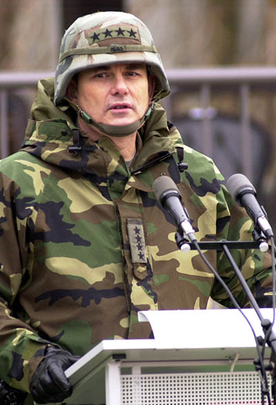 Gen. Montgomery Meigs, the outgoing commander of U.S. Army Europe, in Heidelberg, Germany, in 2002. Photo by Michael Abrams / Courtesy of Stars and Stripes, All Rights Reserved