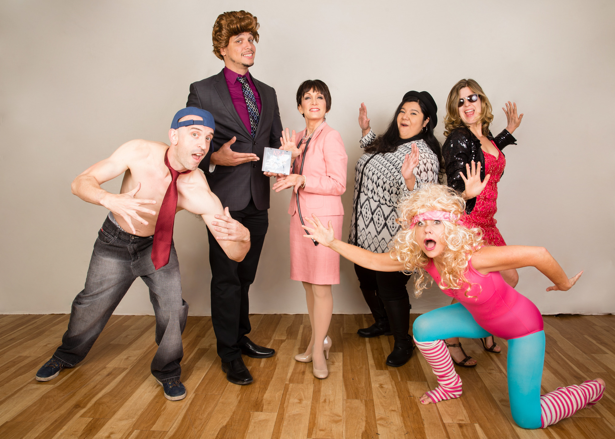 "Cast photo of political satire comedy variety show ""Over the Lege,"" directed by Stephanie Chiarello Noppenberg (MPAff '08)"