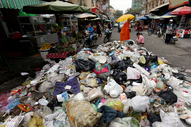 A pile of trash in Phnom Penh, Cambodia, the subject of one of the President's Award-winning research projects.