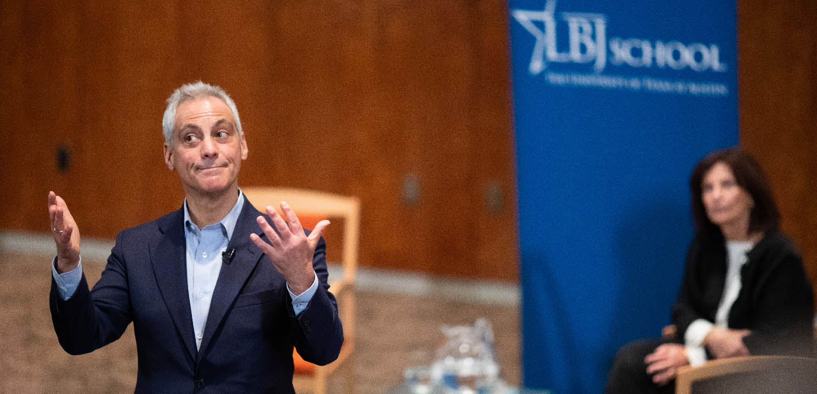 Chicago Mayor Rahm Emanuel talks with students and LBJ School Dean Angela Evans in Bass Lecture Hall