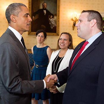 Alumnus Matthew Randazzo with President Barack Obama