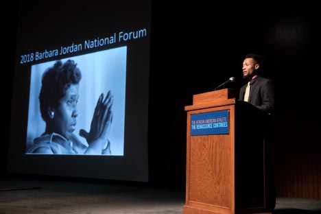 LBJ School student Roosevelt Neely introduces the African American Renaissance in Sports event