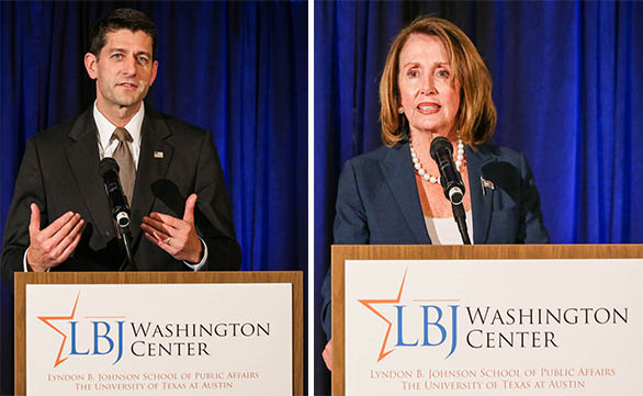 Paul Ryan (R-Wis.) and Nancy Pelosi (D-Calif.), then the speaker and minority leader of the U.S. House, at the LBJ Washington Center's Grand Opening, September 2016