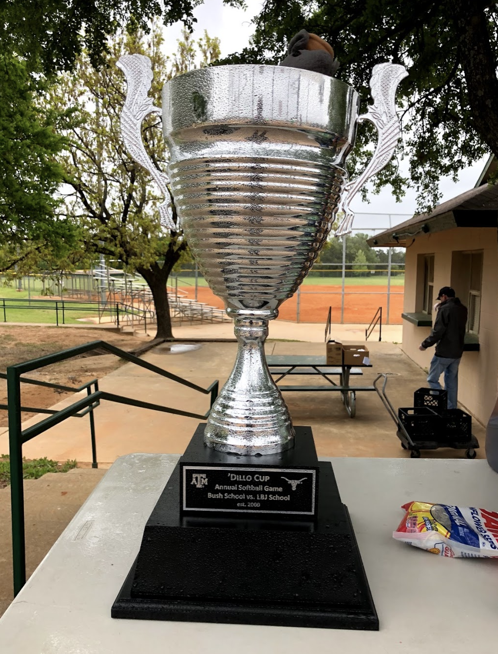 The 2018 Dillo Cup trophy, awarded to the winner of the annual LBJ-Bush softball game